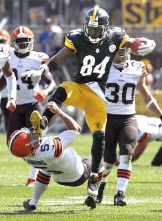 Antonio Brown hurdling the punter in a 30-27 win over the Cleveland Browns