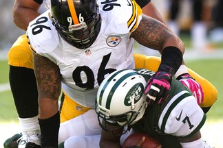 Ziggy Hood gets one of the three sacks produced by the Steelers defense against the New York Jets